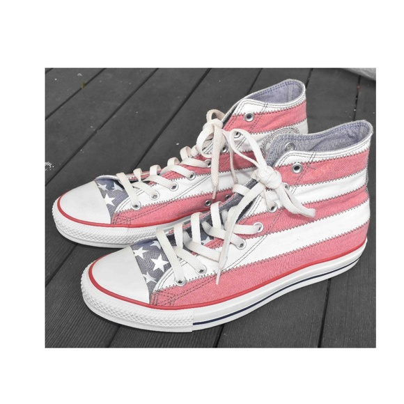 CONVERSE High Top Faded Americana American Flag Sneakers Size Men's Size 10!